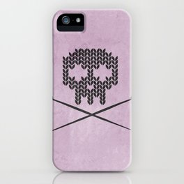Knitted Skull (Black on Pink) iPhone Case