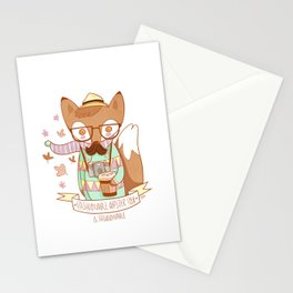 Fashionable Hipster Fox Stationery Cards