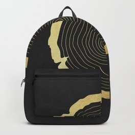 Metallic Gold Tree Ring on Black Backpack