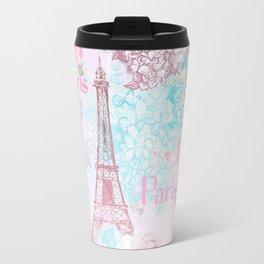 I love Paris- Vintage  Shabby Chic in pink - Eiffeltower France Flowers Floral Travel Mug