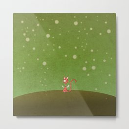 Small winged polka-dotted red cat and spring Metal Print