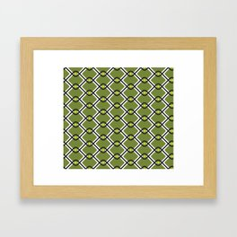 1960's Inspired Green, Yellow, Black and White Pattern Framed Art Print