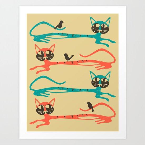 Birds on Cats Art Print