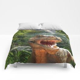 T Rex in Prehistoric Landscape Comforters