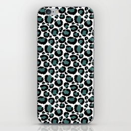 Teal Leopard Animal Print Pattern iPhone Skin