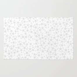 Block Print Silver-Gray and White Stars Pattern Rug