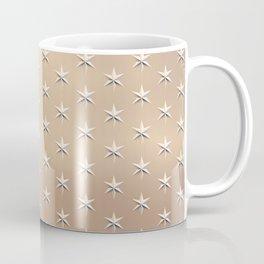 Shiny Silver Star Christmas Pattern on Gold Coffee Mug