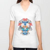 hawaiian V-neck T-shirts featuring Hawaiian Skull by Anis