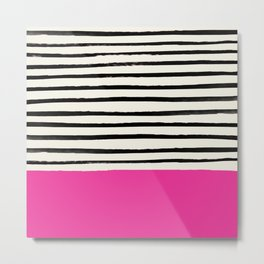 Bright Rose Pink x Stripes Metal Print