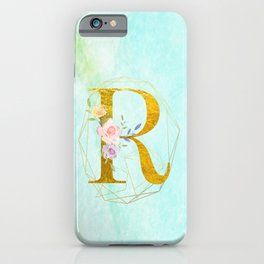 Gold Foil Alphabet Letter R Initials Monogram Frame with a Gold Geometric Wreath iPhone Case