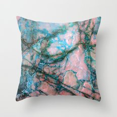 Pink and Blue Marble Throw Pillow