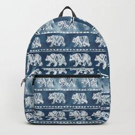 BEAR SPIRIT Indigo Watercolor California Bears Pattern Backpack