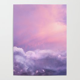 Sunset and Clouds | Blush Pink | Unicorn | Sky Poster