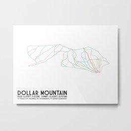 Dollar Mountain, ID - Minimalist Trail Map Metal Print