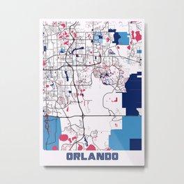 Orlando - United States MilkTea City Map Metal Print