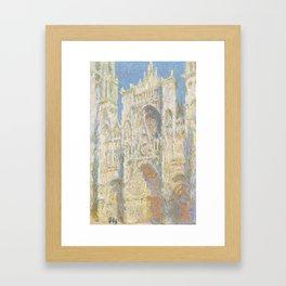 Claude Monet - Rouen Cathedral, West Façade, Sunlight Framed Art Print