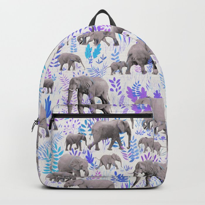 Sweet Elephants in Aqua, Purple, Cream and Grey Backpack