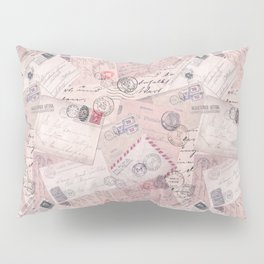 Nostalgic Letter and Postcard Collage Soft Pink Pillow Sham