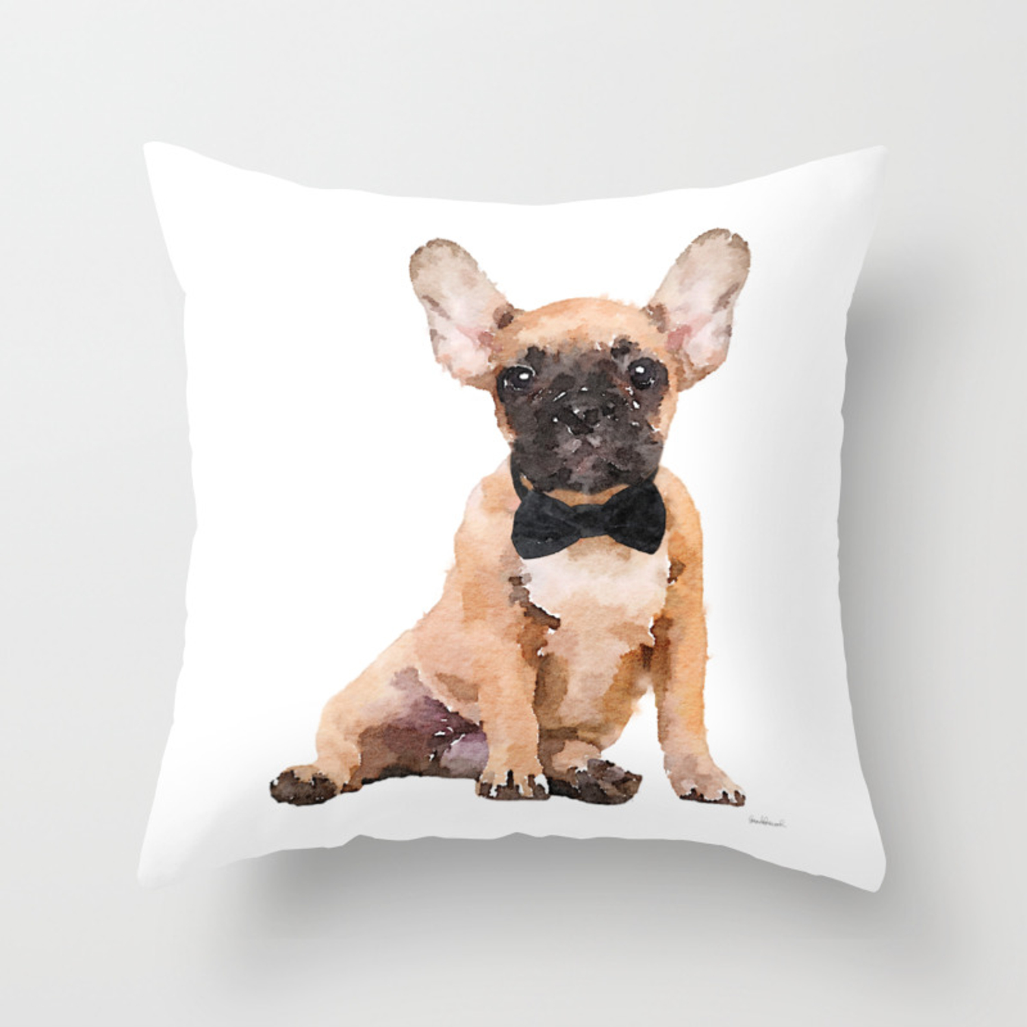 Fawn French Bulldog Bow Tie Frenchie Puppy Throw Pillow By Amandagreenwood Society6