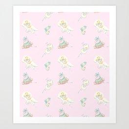 Vintage Baby Room Repeat in Light Pink Art Print