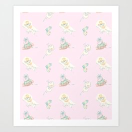 Vintage Baby Room Repeat in Light Pink Art Print
