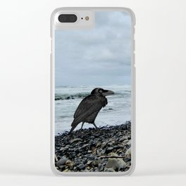 Salty Raven stormy beach Clear iPhone Case