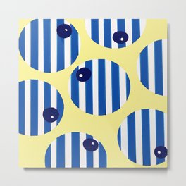 snooker balls in blue Metal Print