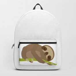 funny and cute Three-toed sloth on green branch Backpack