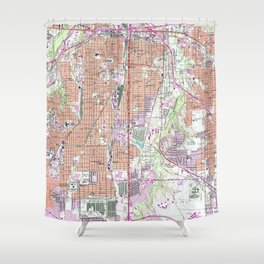 Vintage Map of Fort Worth Texas (1955) 2 Shower Curtain