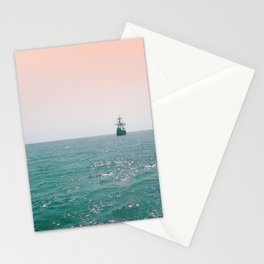 Pirate ship at sea Stationery Cards