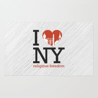 religious Area & Throw Rugs featuring Luv New York Religious Freedom by The Mindful