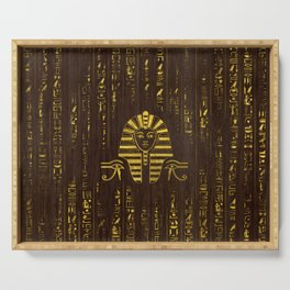 Golden Egyptian Sphinx and hieroglyphics on wood Serving Tray