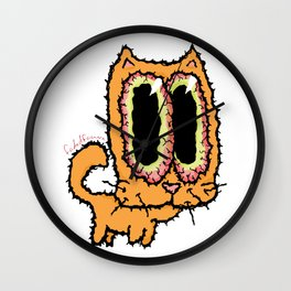 Orange Cat by faded fauna Wall Clock