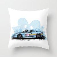 deadmau5 Throw Pillows featuring Deadmau5's Purrari 458 Spider by an.artwrok