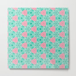 Millennial Pink Chenille and Mint Anchor  Pattern Metal Print