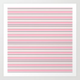 Gray and Pink Striped Pattern Art Print