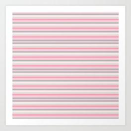 Gray and Pink Striped Pattern Art Print