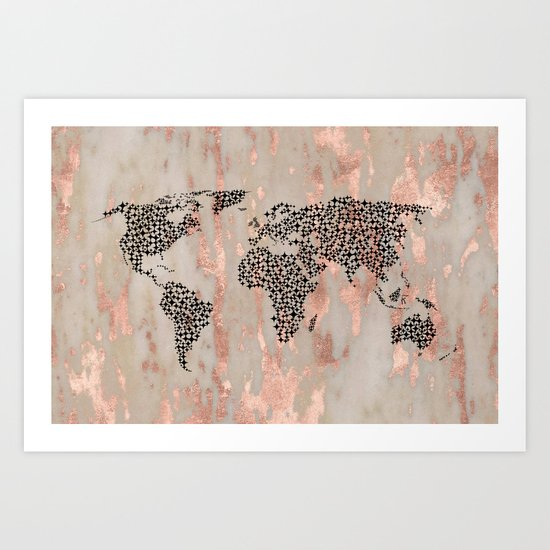 Star Map on Rose Gold Marble Art Print