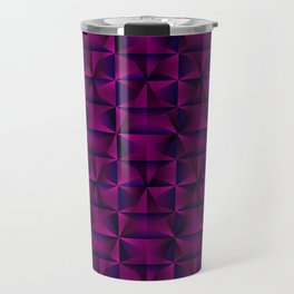 A chaotic mosaic of convex rhombuses with pink intersecting bright lines and squares. Travel Mug