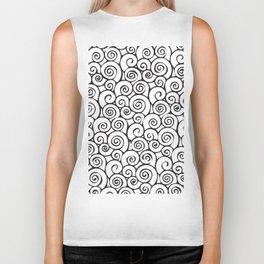 Modern Black and White Abstract Swirly Pattern Biker Tank