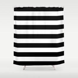 Black and White Medium Stripes Pattern Shower Curtain