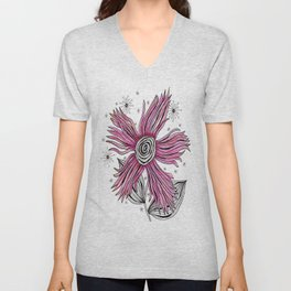 My Funky Valenting - Zentangle Pink Flower Unisex V-Neck
