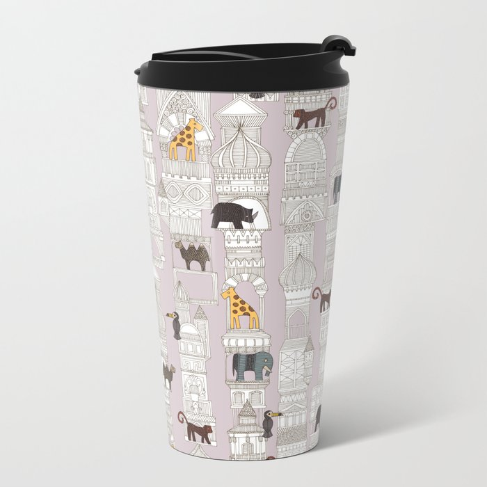 urban jungle blush pink Metal Travel Mug