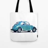 volkswagon Tote Bags featuring Blue VW Bug by Regan's World