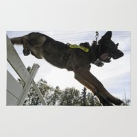 german shepherd Area & Throw Rugs featuring German Shepherd Police Dog by BravuraMedia