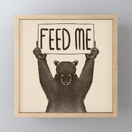 Feed Me Bear Framed Mini Art Print