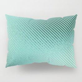 Minimalist Diagonal Line Pattern in Iridescent Blue-Green 24 Pillow Sham