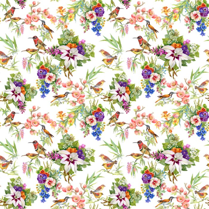Watercolor Wild exotic birds on flowers seamless pattern on white background vector illustration Comforters