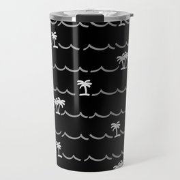 Tropica Night - black and white tropical pattern Travel Mug
