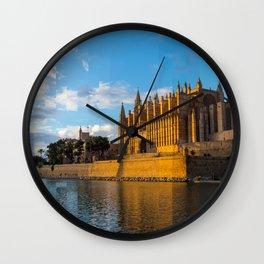 Dusk on Cathedral of Palma de Mallorca Wall Clock